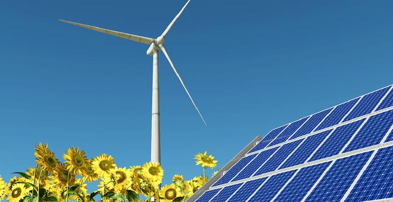 Photovoltaikanlage und Windrad